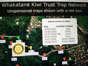 Pest traps map for Whakatane Kiwi Trust